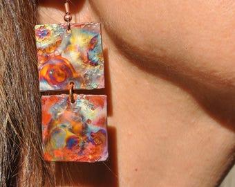 Copper Earrings - 2 - Square Earrings - Long Square Copper Earrings - Square - Copper Dangle Earrings - Christine Chandler - Hand Hammered