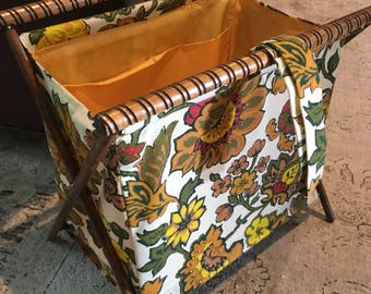 Knitting Basket Collapsible foldable fabric and woodsewing holder with floral mid century print design vintage