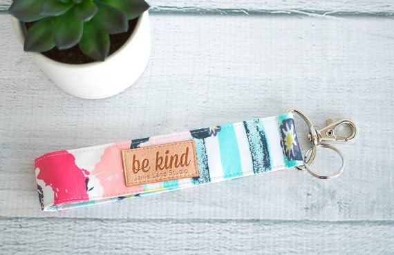 Floral Key Fob | Pink Flowers and Aqua Stripe Wrist Key Lanyard