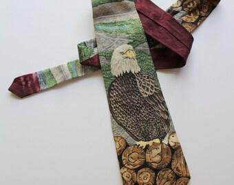 Vintage Bald Eagle Vanishing Forest Necktie by Endangered Species 1996