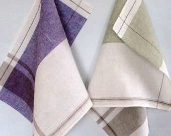 Tea Towel Set Stripes Striped Kitchen Towels Linen Towel Linen Hand Towels Tea Towels Linen Dish Towel Green White Purple Towels set of 2