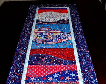 Patriotic Table Runner - Patriotic Quilted Table Runner In Bright Red White and Blue