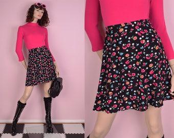 90s Polka Dot Floral Print High Waisted Skirt/ US 4/ 1990s