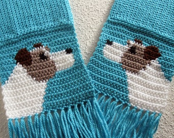 Jack Russell Terrier Scarf. Turquoise knitted scarf with Parsons Terriers. Knit dog scarf.