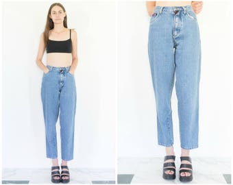 90s High Waist Stonewash Denim Mom Jeans - 24 Waist