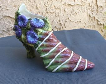 Vintage ceramic shoe planter with bluebell and asparagus  garden decor home decor shoe vase