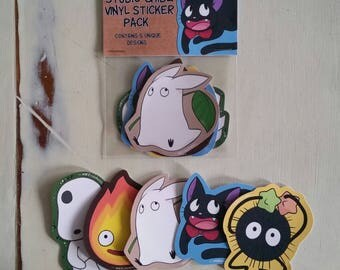 Set of 5 Studio Ghibli Vinyl Stickers
