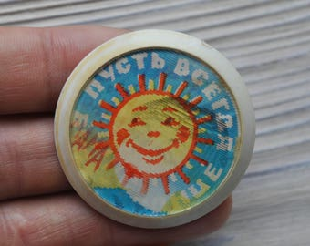 "Vintage Soviet Russian plastic stereo badge, pin.""May There Always Be Sunshine""."