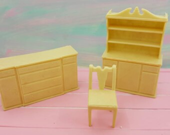 Eagle Toy Canada Dining room Pieces  China hutch sideboard Chair Beige Tan Soft Plastic