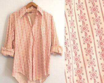 Vintage 70s Mens Western Shirt / Red White Print Disco Shirt / Long Sleeve Mid Century Oxford / Grandpa Hipster Shirt / Medium