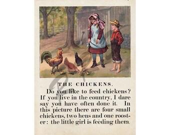 Instant Download Printable Art, Victorian, Farm, McLoughlin Print, Boy and Girl, Child, Chickens, Children's Book, Wall Art Decor, Digital