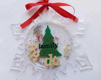 Family personalized Christmas ornament - acrylic snowflake-initial for each family - member- Family gift - keepsake