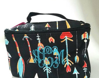 Monogrammed train case- cosmetic bag - arrow print - makeup case - travel bag - embroidered- customized - pick your font