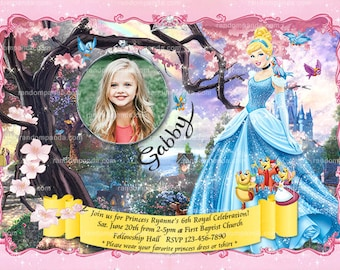 Personalize Cinderella Invitation, Cinderella Party, Disney Princess Birthday Invite