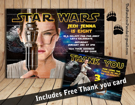 Star Wars Invitation Rey Party Force Awakens Birthday Invite