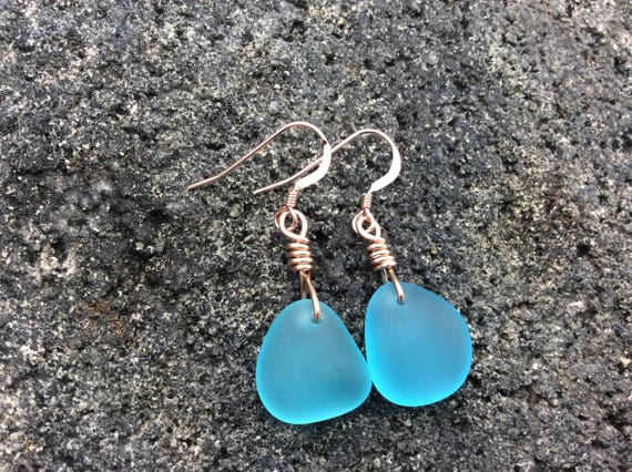 Aqua Blue Recycled Seaglass, 14k Rose Gold Filled Earrings