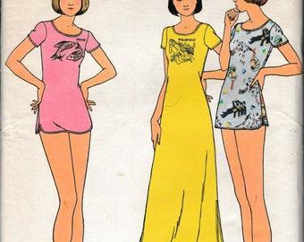 1970's Sewing Pattern Butterick 3879 Misses nightshirt, bikini briefs, & zodiac iron-on transfers bust 34-36