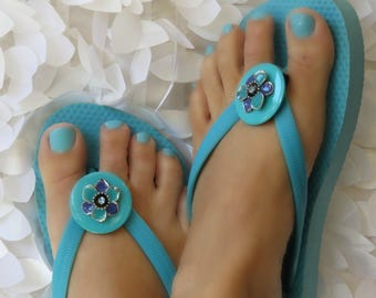 Flip Flop Clips, Aqua and Blue Flower, Flexible, Removable, Versatile Shoe Clips, Sandal Clips, Scarf Accessory, Boot Strap Accessory