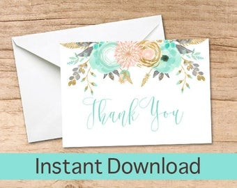Peach Mint Thank You Card /  Gold Watercolor Printable Thank you Cards / Thank You Instant Download, Baby Shower Thank You Card