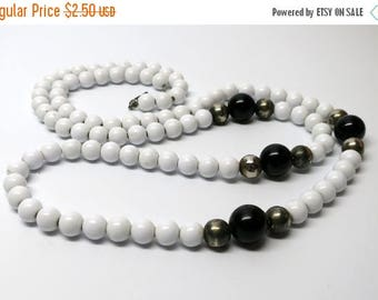 HALF OFF SALE Black and White Pearl Strand for Found Object Art and Jewelry