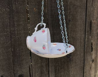 Bird Feeder, Royal Vale Bone China Antique Teacup & Saucer Bird's Feeding Tray, Wild Birds Best Bird Feeder, Handmade, Item #539146583