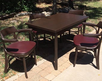 Solid Wood Dinner Farm Apartment Dorm Furniture Table Swivel Folds From 44 Feet To 56 Feet Includes 4 Chairs