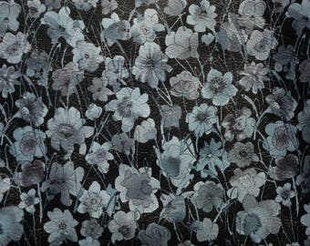 "NEW Leather 12'X12"" GRAY FIELD of Flowers on Black full grain Cowhide 2.5-2.75 oz/ 1-1.1 mm PeggySueAlso™ E1130-03 Trial"