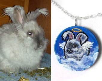 Custom Necklace, Pet Portrait, Angel Jewelry, Personalized Memorial Gift for Her, Cat Painting, Dog Lover, Bunny Rabbit,  Circle Pendant