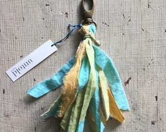 Yellow and Turquoise Tassel Key Ring. Torn Fabric Tassel. Zipper Charm. Tassel Key Chain. Purse Tassel. Mini Garland Tassel. Gifts under 15