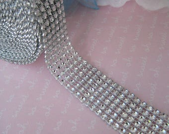 "1 "" 5 yards Silver Diamond Mesh Wrap Ribbon for Wedding, Vases, Centerpieces, Cake Stands, Embellishment, Sweet 16, Quinceanera, 1"" wide,"