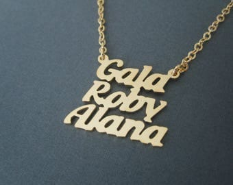 Personalized Mini Gold Stacked 3 Names Necklace