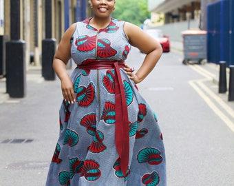 Ankara maxi/ African print maxi - DELICIOUSLY CURVY Maria maxi dress in Green by GITAS Portal
