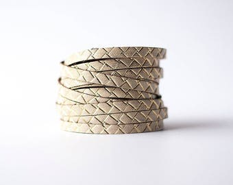Leather Bracelet / Original Sliced Wrap Cuff / Woven Gold