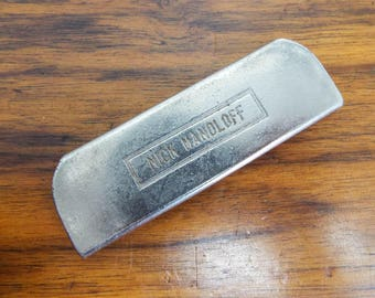 Vintage Nick Monoloff Student Metal Lap Steel Guitar Slide Tone Bar for Electric Guitarist, Unique one of a kind Present for Playing Friend