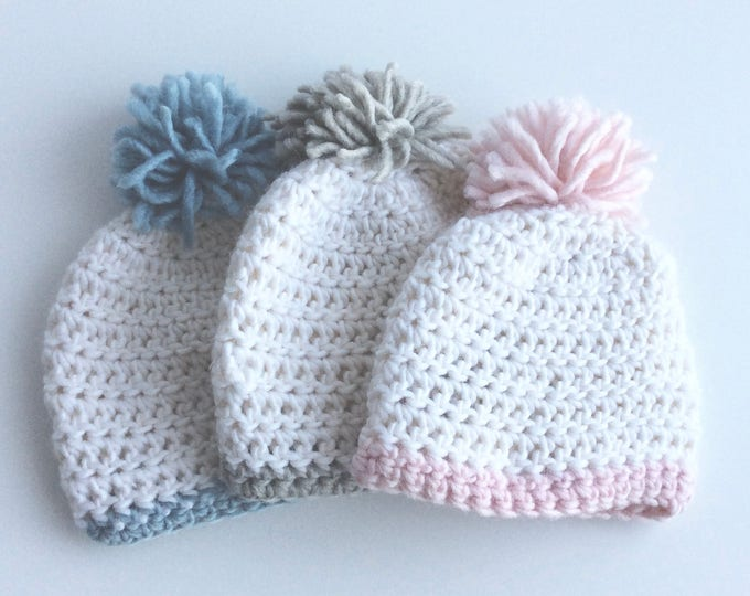 Crochet Baby Hats in Naturally Dyed Alpaca/Merino Wool Blend