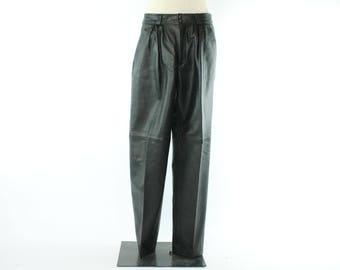 Vintage 80s Black Leather Pants North Beach Michael Hoban Pleated Trousers 1980s 31 in. Waist Biker Motorcycle