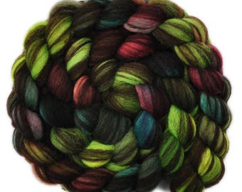 Hand painted roving - Corriedale Humbug wool spinning fiber - 4.1 ounces -  Forest Floor 2