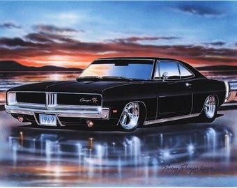 1969 Dodge Charger RT Muscle Car Art Print 3 Color Choices 11x14