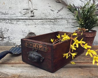 Antique Wooden Drawer with Ornate Bin Pull Handle - Primitive