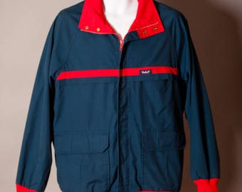 Vintage WOOLRICH navy and red jacket coat - L