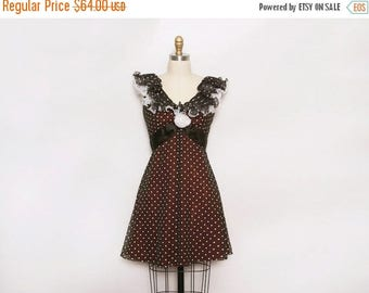 MOVING SALE Vintage 1960s Dress. Vintage Party Dress. Medium 60s Dress. Polka Dot Dress. Ruffle Dress. A Line Dress. Sleeveless Dress. Brown