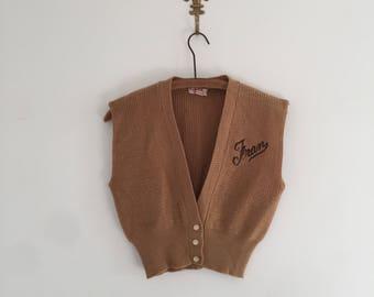 Vintage 50's Fran Monogrammed Sweater Vest