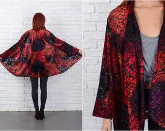 Vintage 80s Velvet Burnout Top Blouse Red Sheer Oversize jacket S M L 8672