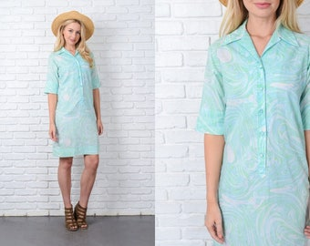 Vintage 70s Green Shirt Dress Mod Swirl Print Knee length XS 9787