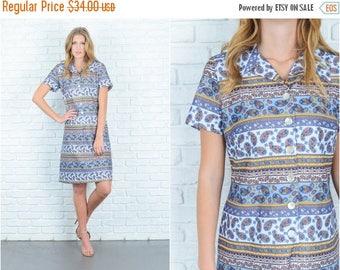 Sale Vintage 70s Blue + White Mod Paisley Dress Striped Yellow Ethnic Shirt Dress L 6739