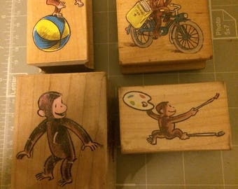 All Night Media Set of 4 CURIOUS GEORGE wood mounted stamps