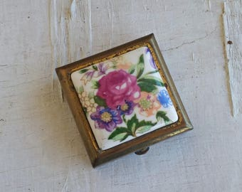 Floral Porcelain Pill Box, Square Brass Pill Box, Pink Purple Green Collector's Tiny Trinket Box, Valentines Day Gift, Retro Bag Accessory