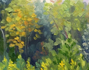 Original Impressionist Landscape Small Oil Painting Among the Trees
