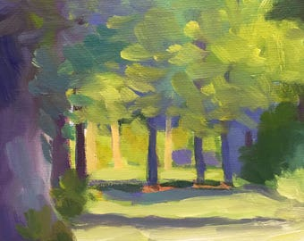 Among the Trees Small Plein Air Oil Painting on Canvas