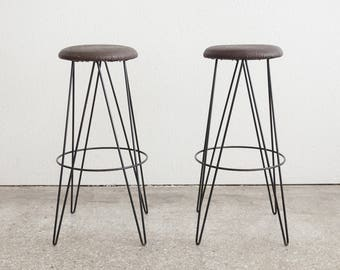 Pair Mid Century Wire Bar Stools